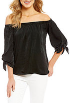 Soprano Off-The-Shoulder Tie-Sleeve Satin Top