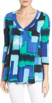 Chaus Women's Fragment Abstract V-Neck Top