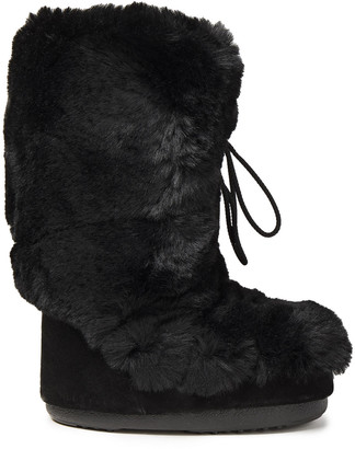 Moon Boot Suede And Faux Fur Snow Boots