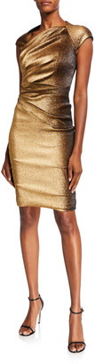 Theia Ruched Stretch Metallic Cap-Sleeve Dress