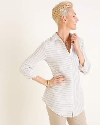 No Iron Linen Striped Side-Button Tunic