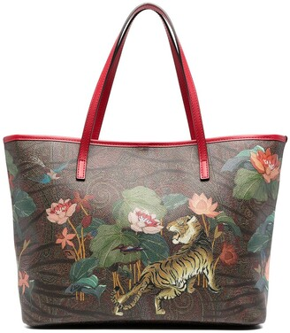 Etro Floral-Print Leather Tote Bag