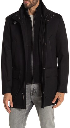 Cole Haan Wool Blend Leather Trim Rib Knit Inset Coat