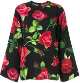 Dolce & Gabbana wide sleeve rose print blouse