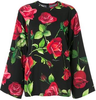 Dolce & Gabbana wide sleeve rose print blouse