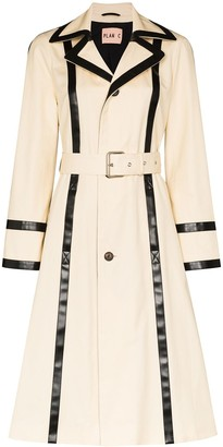 Plan C Contrast Trim Belted Trench Coat