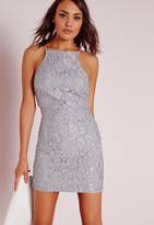 Missguided Lace Square Neck Bodycon Dress Grey