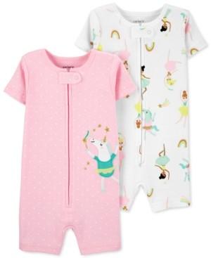 Carter's Baby Girls 2-Pk. Unicorn & Ballet-Print Cotton Romper Pajamas