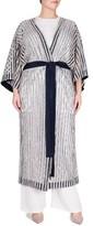 Plus Size Women's Elvi Textured Stripe Kimono
