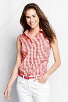 Lands' End Women's Sleeveless Button-front Pattern No Iron Shirt