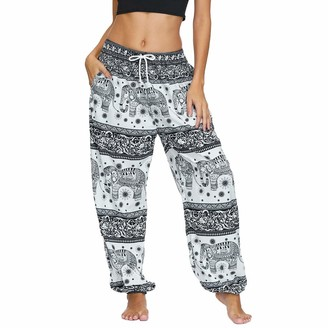 Nuofengkudu Women's Drawstring Trousers Loose Fit Hippy Harem Yoga Pants Elephant Patterned High Waist Lightweight Loungewear Beach Holiday (Black A M)