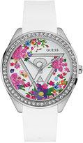 GUESS Women's White Silicone Strap Watch 43mm U0904L1