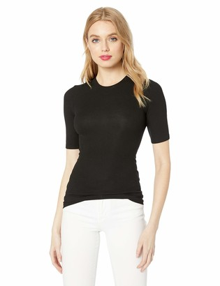 Enza Costa Women's Rib Fitted Half Sleeve Crew Neck Top
