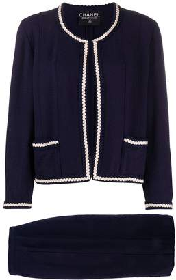 Chanel Pre Owned Braided Trim Two-Piece Suit
