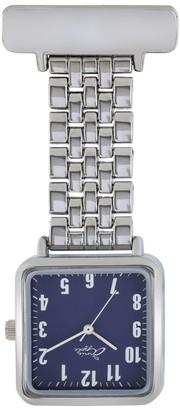 Bermuda Watch Company Annie Apple Blue & Silver Link Square Nurse Fob Watch