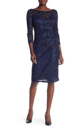 Marina Sequin Lace 3/4 Sleeve Sheath Dress