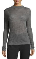 DKNY Long-Sleeve Sheer Ribbed Pullover Sweater, Charcoal