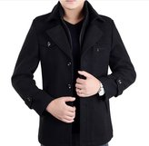 DeLamode Men's Double Layer Zipper Button Coat Comfort Wool Winter Long Jacket US S Black