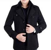 DeLamode Men's Double Layer Zipper Button Coat Comfort Wool Winter Long Jacket US S Black