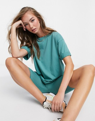 ASOS DESIGN mix & match relaxed t-shirt co-ord with roll sleeve in teal