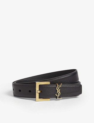 Saint Laurent Logo-buckle leather belt