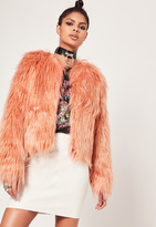 Missguided Shaggy Faux Fur Coat Pink