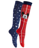 Disney Women's 2-Pk. Plaid Mickey Mouse Knee-High Socks