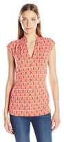 Vince Camuto Women's Short Sleeve Diamond Phrase Pleat V-Neck Top