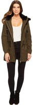 Blank NYC Parka Jacket with Faux Fur on Hood in Stoners Paradise Women's Coat