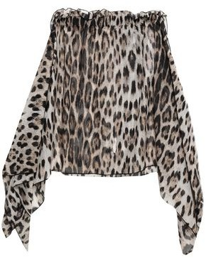 Roberto Cavalli Draped Leopard-print Cotton And Silk-blend Voile Mini Skirt