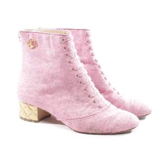 Chanel Pink Cloth Ankle boots