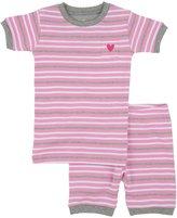 Hatley PJ Set (Toddler/Kid) - Pink & Grey Melange Stripes-5