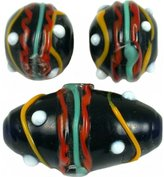 Generic 25 Grams Black Dot Lampwork Round Beads Assorted Mix