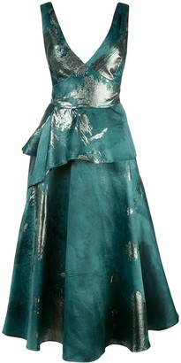 Marchesa Metallic-Print Flared Dress