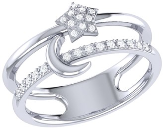 Lmj Starlit Crescent Double Band Ring In Sterling Silver