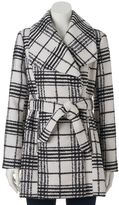 Juniors' IZ Byer California Belted Plaid Faux-Wool Coat