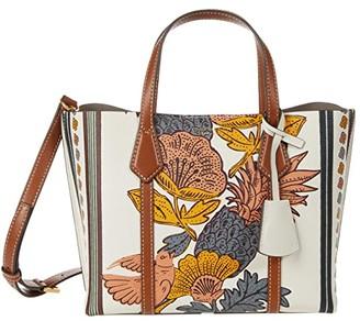 Tory Burch Perry Printed Small Triple-Compartment Tote (Orange Wonderland Vine) Handbags