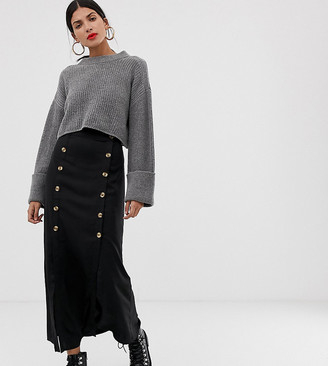 Vero Moda Tall double split button front midi skirt in black