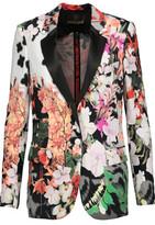 Roberto Cavalli Silk Satin-Trimmed Floral-Print Crepe Blazer