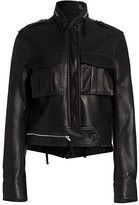 Helmut Lang Leather Cropped Military Jacket