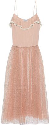 RED Valentino Crepe De Chine And Point D'esprit-paneled Midi Dress
