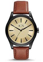 Armani Exchange Nico Leather-Strap Watch