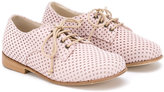 Pépé 'Poker Rosa' perforated lace-up shoes - kids - Goat Skin/Leather - 20