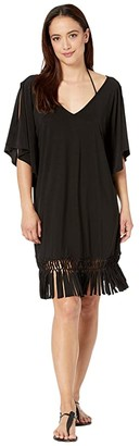 Dotti Island Macrame Cold-Shoulder Caftan Cover-Up (Black) Women's Swimwear