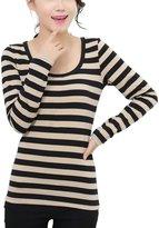 Queen-Ks Women's Cotton Basic Tee Striped Long Sleeve T-Shirt White & Red Medium