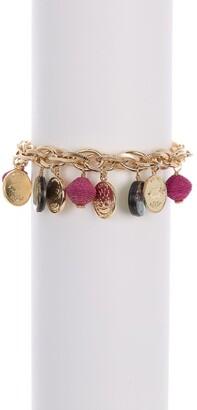 Akola Raffia Bead, Coin, & Abalone Charm Bracelet