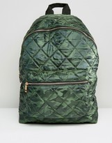 Asos Quilted Nylon Backpack in Camo