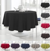 Today 256302 Tablecloth Round Polyester 180 x 180 cm, polyester, Réglisse/Noir, 180x180 cm