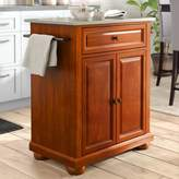 Three Posts Hedon Kitchen Cart with Stainless Steel Top Base Finish: Classic Cherry