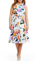 Calvin Klein Plus Belted Floral Midi Dress